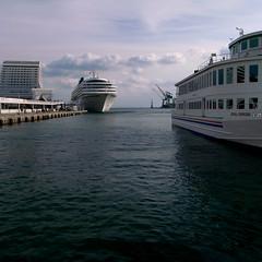 port life (troutfactory) Tags: ocean sea water japan digital square harbor dock ships kobe cruiseship  kansai ricoh   grd2