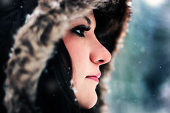 Out of the dark we came, into the dark we go. (Rebecca Tabor Armstrong) Tags: winter portrait snow snowflakes dof profile hood 50mmf18