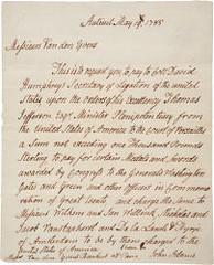 John Adams 1785 gold medals letter