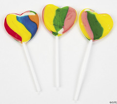 rainbow heart lollies