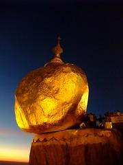 Kyaiktiyo, Myanmar (ChihPing) Tags: travel sunset rock golden pagoda asia burma f100  fujifilm myanmar  kyaiktiyo    f100fd