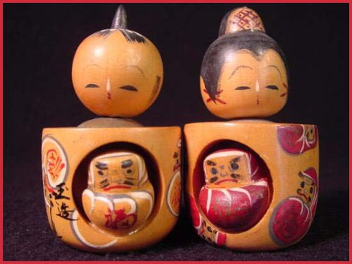 Couple meoto kokeshi