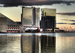 Baltimore Inner Harbor (shiftdnb) Tags: sunset sea lighthouse building skyline night clouds marriott aquarium hotel harbor cloudy maryland baltimore hdr goldenhour
