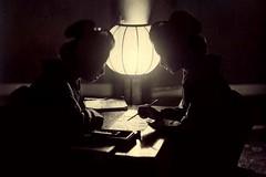 GEISHA IN SILHOUETTE WRITING A LETTER -- An Un...