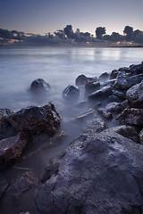 Seashore After Sunset (Fat Duke) Tags: longexposure sunset sea portugal nature canon landscape naturallight algés fullframe magichour digitalphotography ilustrarportugal