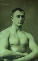 Russian Wrestling Champ c 1910 postcard (pince_nez2008) Tags: glasses handsome buff wrestler muscleman bodybuilder eyeglasses eyewear noseglasses pincenez noseclip vintageeyewear antiqueeyewear noseclipglasses