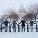 Students in the Washington Community Scholar's program enjoy the snow in D.C.