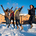 Students celebrate the snow storm and the day off of school.