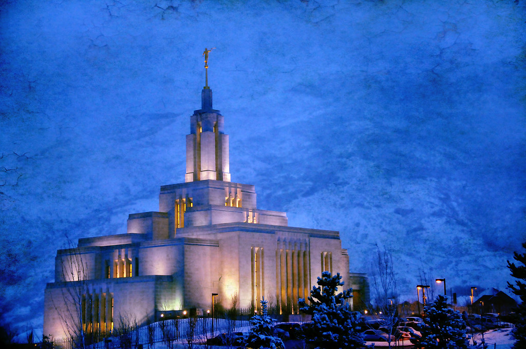 Draper LDS Temple during snow storm 3 5 10 texture