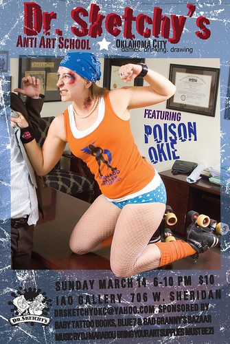 Flyer for Dr. Sketchy's OKC, March 2010, feat. Poison Okie