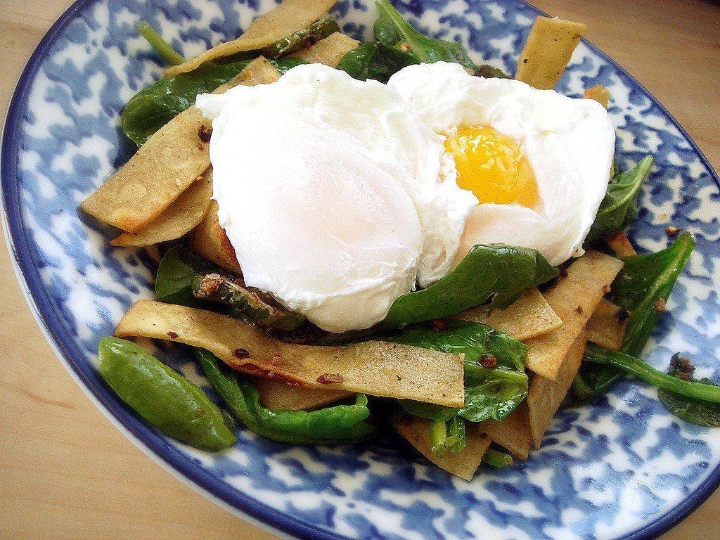 Poached eggs and crispy corn tortilla breakfast