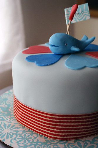 mini whale cake for baby shower!