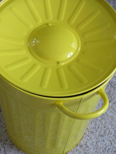 yellow mini trash can