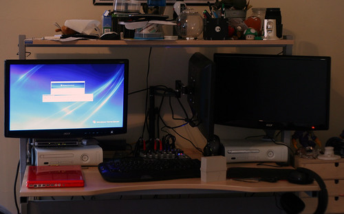 windows xbox360 geek desk trimonitor lcdmounts