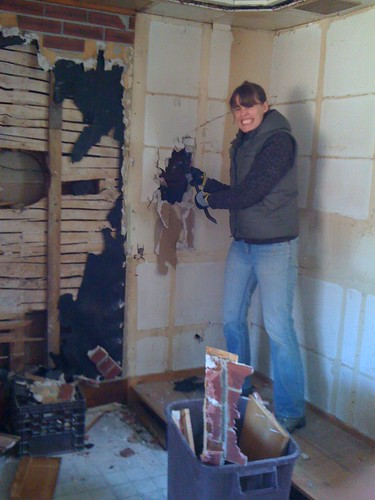 ripping out walls in the kitchen!