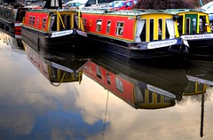 Sky and Boats (Shertila Tony) Tags: red england sky color colour water canal europe cheshire britain refection 1000views longboats narrowboats prestonbrook colorphotoaward