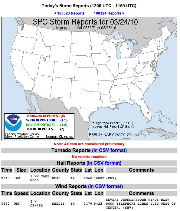 Severe Reports Wed 24 Mar 10