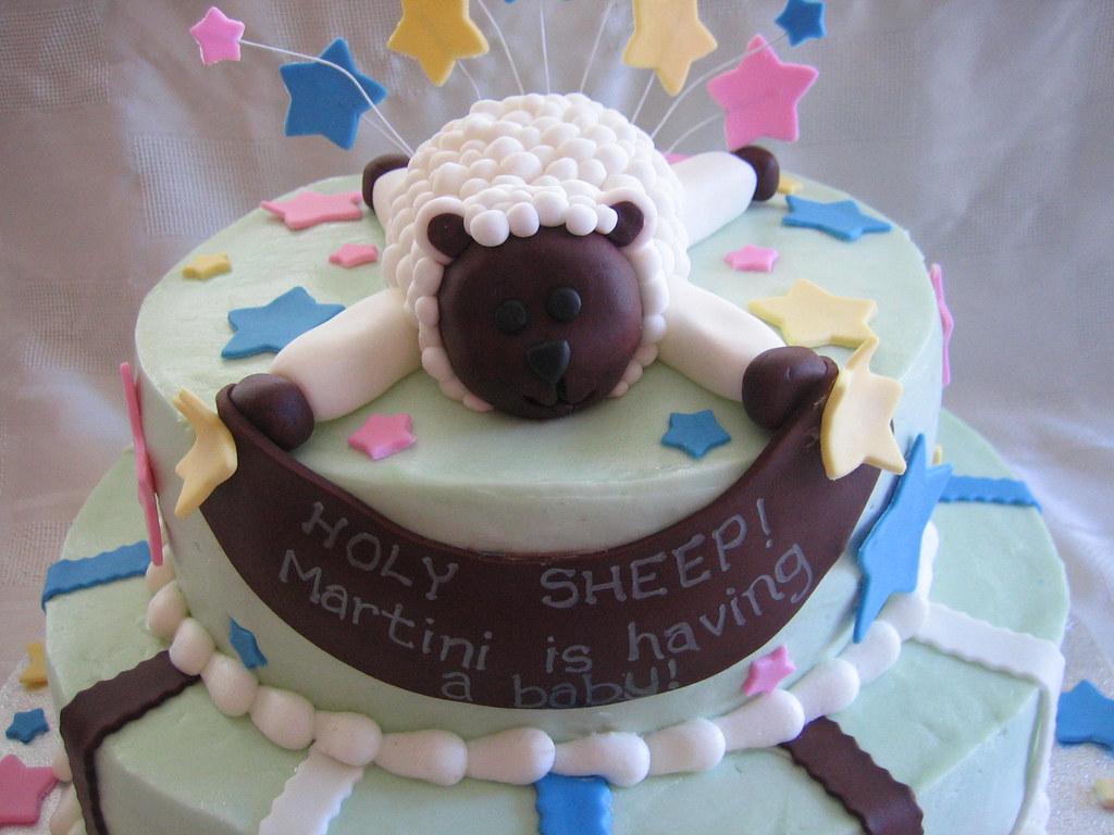 Sheep Baby Shower Cake