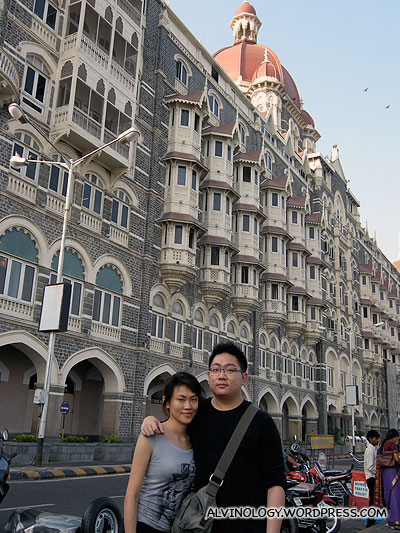 Rachel and I in front of the Taj Hotel