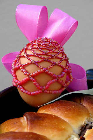 Pink decorated Easter egg
