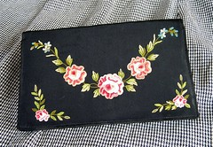 1940s french purse (lonely artist studio) Tags: pink blue black green vintage mirror handmade embroidery silk 1940s clutch embroidered handstitched eveningbag handembroidered vintagepurse