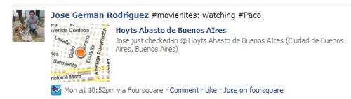 fourquare on facebook