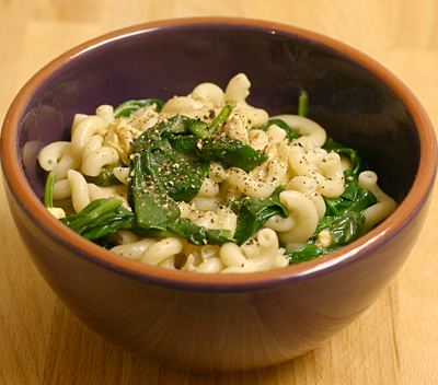 Macaroni and cheese with chicken and spinach