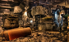 Industrial Plant (Steel Mill) Interior - can you see the heat  - Chicago (Mister Joe) Tags: panorama chicago mill metal workers nikon iron industrial factory welding joe heat machines sparks hdr molten cityscene multipleexposures industrialplant finkl steelplant