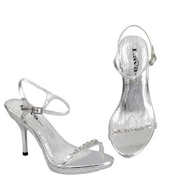 Silver bridal shoes sexy high heel