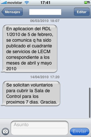 SMS pidiendo voluntarios