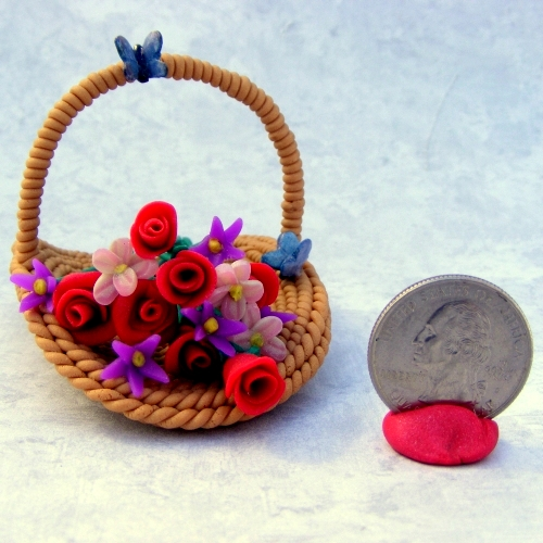 Flower Basket with quarter for size comparison