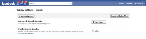 """public search"" setting in Facebook"