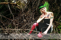 (Jennifer McCready Photography/Lady Luck Pin Ups) Tags: woman ontario color colour green nature beautiful leaves tattoo pretty artistic blueeyes makeup polkadots gloves blonde glam elegant grimsby mua jennifermccreadyphotography erinmeester