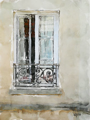 The balcony (piker77) Tags: painterly paris france art architecture digital photoshop watercolor painting interesting media natural aquarelle digitale manipulation simulation peinture illusion virtual watercolour transparent acuarela tablet technique wacom stylized pintura imitation  aquarela aquarell emulation malerei pittura virtuale virtuel naturalmedia urbanpics    piker77wc arthystorybrush