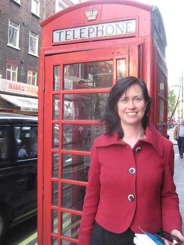 shannon by a telephone booth