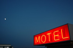 Moon Motel (Jeremy Stockwell) Tags: blue red moon sign twilight nikon neon dusk motel d40 sooc jeremystockwellpix nikond40