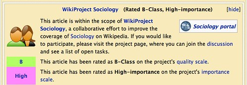 Screenshot: WikiProject Sociology (Rated Start-Class, High-importance)