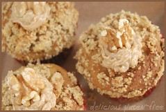 walnut~sesame~sunflower~sugar crumb topping with cinnamon frosting (Jen's Photography) Tags: stilllife food brown dessert cupcakes words illinois beige nikon sweet harvard walnut sugar eat homemade sunflowers sesameseeds edible frosting crumb baked topping glutenfree originalrecipe dairyfree demerarasugar pumkinseeds flaxseed d80 crumbtopping soyfree beepollen ricebran allergyfree jensphotography brownriceflour guargum cinnamonfrosting