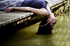 enjoy (laura zalenga) Tags: light woman sun water girl self river garden hair arm jetty skirt enjoy ©laurazalenga