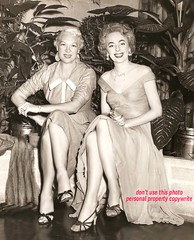 Christine Jorgensen and Reta Ray (Sugarbarre2) Tags: transexual woman upskirt pantyhose vintage fashion news bw evening gown long people history hawaii 50s honolulu art city party medicine plants show operation tg ts fame black white dark shadow body s mom granny toes legs sandals fur sexy