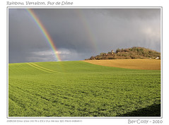 Rainbow (BerColly) Tags: sky france church clouds spring google rainbow flickr hill champs ciel fields nuages printemps eglise auvergne colline arcenciel puydedôme blueribbonwinner photographyrocks flickrdiamond vertaizon magicalskies bercolly