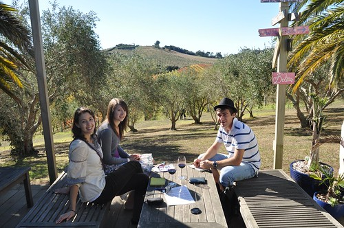 "Tasting wine at Stonyridge Vineyard. We all quite enjoyed ""Luna Negra"""
