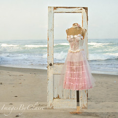 Waves & Whimsy (ImagesByClaire) Tags: ocean sea beach mannequin sand whimsy soft waves lace ethereal dreamy tulle whimsical florabellatextures storybookttwwinner oldantiquedoor
