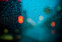 126/365 - Rain bokeh (Micah Taylor) Tags: street lake rain truck driving bokeh east ups windshield lightrail hiawatha project365