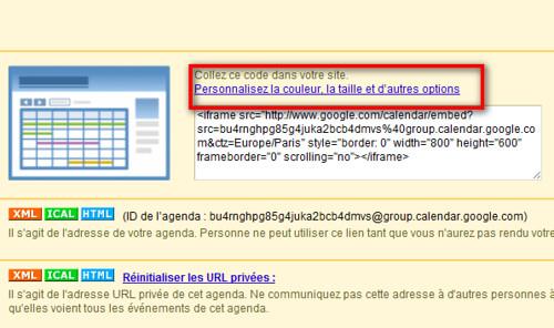 google agenda lien personnalisation intégration