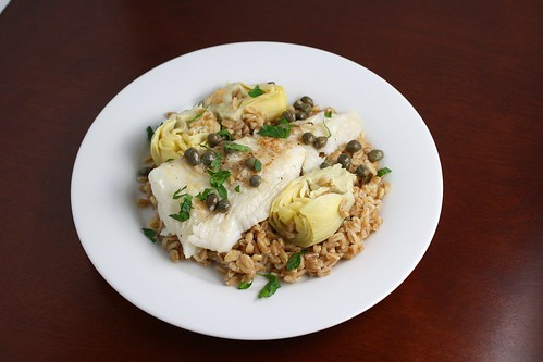 Halibut Piccatta with Artichokes on Farro