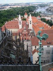 Praha (Lucie Maru) Tags: city travel bridge roof red architecture river europe view prague bridges praha aerial rooster vltava capitalcity strecha ceskarepublica kohout