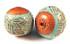 Textured Turquoise and Copper Basket Focal Beads