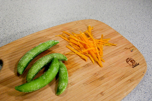 orange zest and frozen peas