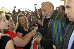 Hamid Karzai the President of Afghanistan at Fort Campbell (The U.S